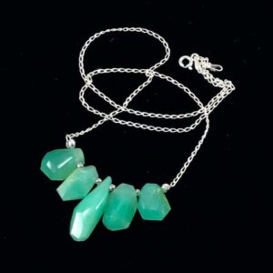 Shop Chrysoprase Necklaces! Chrysoprase Gemstone Necklace / Apple Green / Chrysoprase / Gemstone / Sterling Silver / Necklace / Joy / Happiness / Jewelry | Natural genuine Chrysoprase necklaces. Buy crystal jewelry, handmade handcrafted artisan jewelry for women.  Unique handmade gift ideas. #jewelry #beadednecklaces #beadedjewelry #gift #shopping #handmadejewelry #fashion #style #product #necklaces #affiliate #ad