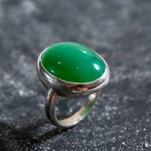 Shop Chrysoprase Rings! Statement Green Ring, Natural Chrysoprase, Vintage Silver Ring, Australian Stone, May Birthstone, Green Ring, Solid Silver, Real Chrysoprase | Natural genuine Chrysoprase rings, simple unique handcrafted gemstone rings. #rings #jewelry #shopping #gift #handmade #fashion #style #affiliate #ad