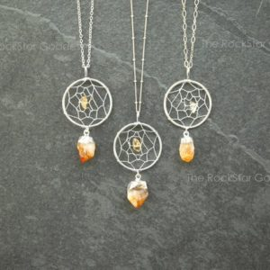 Dreamcatcher Necklace / Silver Citrine Necklace / Raw Citrine Necklace / November Birthstone | Natural genuine Citrine necklaces. Buy crystal jewelry, handmade handcrafted artisan jewelry for women.  Unique handmade gift ideas. #jewelry #beadednecklaces #beadedjewelry #gift #shopping #handmadejewelry #fashion #style #product #necklaces #affiliate #ad