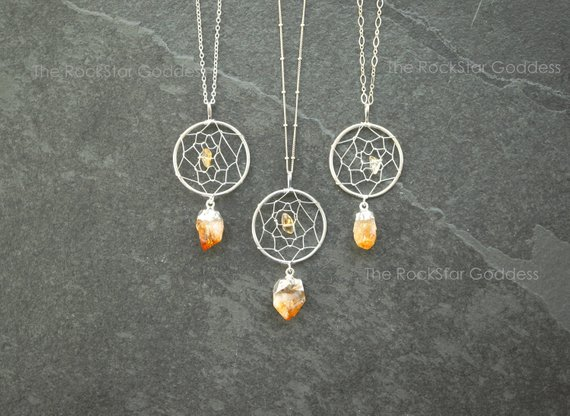 Dreamcatcher Necklace / Silver Citrine Necklace / Raw Citrine Necklace / November Birthstone