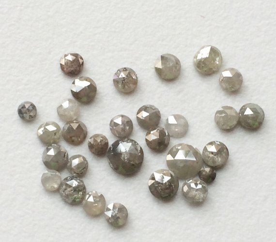 3-3.5mm Calibrated Light Grey Rose Cut Natural Diamond, Light Grey Diamond, Melee Diamond, Light Grey Diamond For Jewelry (2pcs To 8pcs)