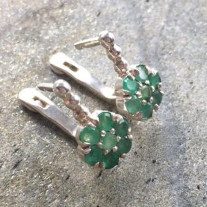 Flower Earrings, Emerald Earrings, Natural Emerald, Natural Emerald Earrings, Vintage Earrings, Vintage Emerald Earrings, Pure Silver | Natural genuine Emerald earrings. Buy crystal jewelry, handmade handcrafted artisan jewelry for women.  Unique handmade gift ideas. #jewelry #beadedearrings #beadedjewelry #gift #shopping #handmadejewelry #fashion #style #product #earrings #affiliate #ad