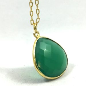 """Shop Emerald Necklaces! Dark Green Emerald Gold Plated Necklace with 16"""" Chain 