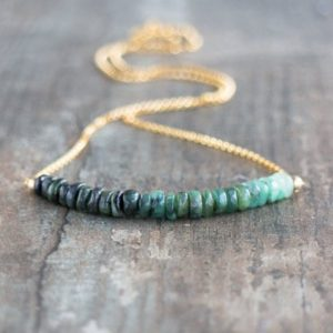 Raw Emerald Necklace, May Birthstone Jewelry Gift for Her, Ombre Green Layering Necklace | Natural genuine Gemstone necklaces. Buy crystal jewelry, handmade handcrafted artisan jewelry for women.  Unique handmade gift ideas. #jewelry #beadednecklaces #beadedjewelry #gift #shopping #handmadejewelry #fashion #style #product #necklaces #affiliate #ad