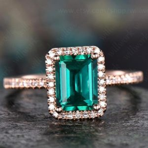 Shop Emerald Engagement Rings! Green emerald engagement ring 14k rose gold handmade emerald ring vintage diamond halo ring stacking band bridal promise ring lab emerald | Natural genuine Emerald rings, simple unique alternative gemstone engagement rings. #rings #jewelry #bridal #wedding #jewelryaccessories #engagementrings #weddingideas #affiliate #ad