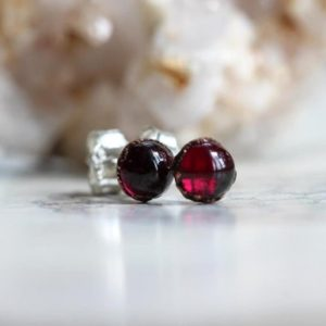 Shop Garnet Earrings! Garnet Earrings – Polished Red Stone Earrings – Sterling Silver Earrings – Red Crystal Earrings | Natural genuine Garnet earrings. Buy crystal jewelry, handmade handcrafted artisan jewelry for women.  Unique handmade gift ideas. #jewelry #beadedearrings #beadedjewelry #gift #shopping #handmadejewelry #fashion #style #product #earrings #affiliate #ad