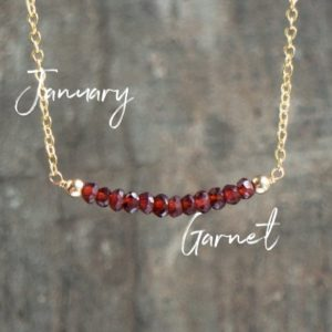 Garnet Necklace, January Birthstone Necklace, Red Garnet Jewelry, Gemstone Bar Necklace, Birthday Gift For Her, Dainty Jewelry, Delicate | Natural genuine Array jewelry. Buy crystal jewelry, handmade handcrafted artisan jewelry for women.  Unique handmade gift ideas. #jewelry #beadedjewelry #beadedjewelry #gift #shopping #handmadejewelry #fashion #style #product #jewelry #affiliate #ad