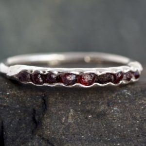 Wrapped Raw Dark Red Garnet Band Ring. Garnet Ring. Raw Garnet Ring. Garnet Wedding Band Ring. Garnet Engagement Ring. | Natural genuine Array rings, simple unique alternative gemstone engagement rings. #rings #jewelry #bridal #wedding #jewelryaccessories #engagementrings #weddingideas #affiliate #ad