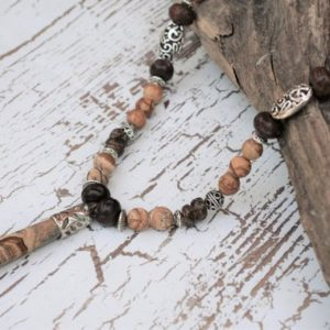 Shop Picture Jasper Necklaces! Picture Jasper Necklace, Semi-precious Stone Necklace, Stone Point Pendant | Natural genuine Picture Jasper necklaces. Buy crystal jewelry, handmade handcrafted artisan jewelry for women.  Unique handmade gift ideas. #jewelry #beadednecklaces #beadedjewelry #gift #shopping #handmadejewelry #fashion #style #product #necklaces #affiliate #ad