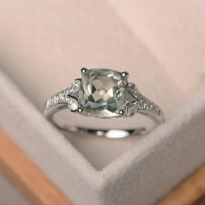 Genuine Green Amethyst Ring, Cushion Cut Promise Engagement Ring, Sterling Silver Ring, green Gemstone Ring | Natural genuine Gemstone rings, simple unique alternative gemstone engagement rings. #rings #jewelry #bridal #wedding #jewelryaccessories #engagementrings #weddingideas #affiliate #ad
