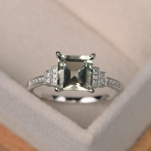 Green Amethyst Ring, Square Cut, Engagement Ring, Sterling Silver Ring, Promise Ring, Green Gemstone Ring | Natural genuine Gemstone rings, simple unique alternative gemstone engagement rings. #rings #jewelry #bridal #wedding #jewelryaccessories #engagementrings #weddingideas #affiliate #ad