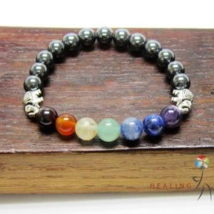 Shop Hematite Bracelets! 7 Chakra Elephant Hematite Bracelet | Natural genuine Hematite bracelets. Buy crystal jewelry, handmade handcrafted artisan jewelry for women.  Unique handmade gift ideas. #jewelry #beadedbracelets #beadedjewelry #gift #shopping #handmadejewelry #fashion #style #product #bracelets #affiliate #ad