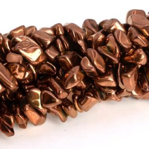 "4×3-10x5MM Rose Gold Hematite Beads Pebble Chips Grade AAA Natural Gemstone Full Strand Loose Beads 16"" BULK LOT 1,3,5,10,50 (104784-1311) 