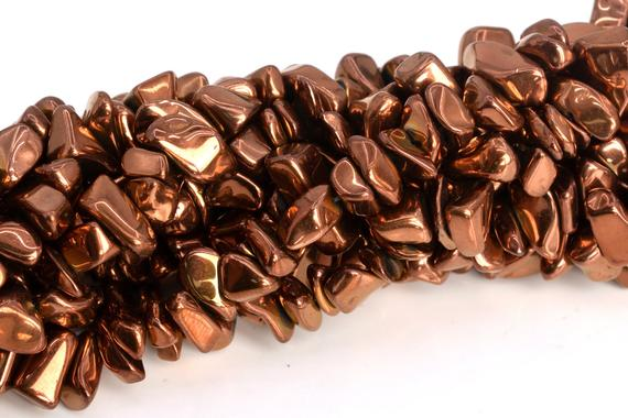 "4x3-10x5mm Rose Gold Hematite Beads Pebble Chips Grade Aaa Natural Gemstone Full Strand Loose Beads 16"" Bulk Lot 1,3,5,10,50 (104784-1311)"