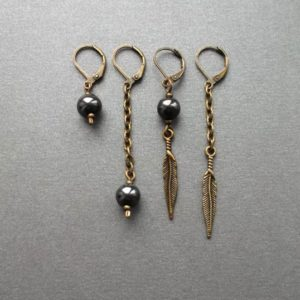 Shop Hematite Jewelry! Hematite Single earring feather/Sphere. Mismatched, Different earrings black, silver. One male earring dangle For guys For girls. Gift Idea | Natural genuine Hematite jewelry. Buy crystal jewelry, handmade handcrafted artisan jewelry for women.  Unique handmade gift ideas. #jewelry #beadedjewelry #beadedjewelry #gift #shopping #handmadejewelry #fashion #style #product #jewelry #affiliate #ad