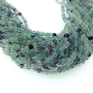 "Shop Fluorite Faceted Beads! Holiday Special! 3mm x 3mm Faceted Natural Rainbow Fluorite Round Beads – 13"" Strand (~ 115 Beads) 
