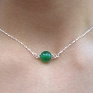 Shop Jade Necklaces! Green Jade Dainty Necklace, Simple Gemstone Necklace, Green Jade Minimalist Necklace, Jade Delicate Gemstone Necklace Solitaire Necklace | Natural genuine Jade necklaces. Buy crystal jewelry, handmade handcrafted artisan jewelry for women.  Unique handmade gift ideas. #jewelry #beadednecklaces #beadedjewelry #gift #shopping #handmadejewelry #fashion #style #product #necklaces #affiliate #ad