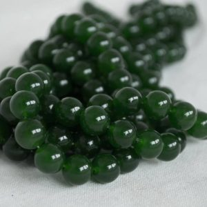 "Shop Jade Beads! High Quality Grade A Dark Green Jade (dyed) Semi-precious Gemstone Round Beads – 4mm, 6mm, 8mm, 10mm Sizes – Approx 16"" Strand 