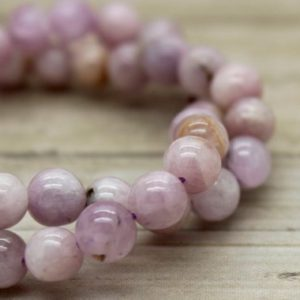 Kunzite Round Gemstone Beads (5mm 6mm 8mm 10mm 12mm 14mm) | Natural genuine beads Kunzite beads for beading and jewelry making.  #jewelry #beads #beadedjewelry #diyjewelry #jewelrymaking #beadstore #beading #affiliate
