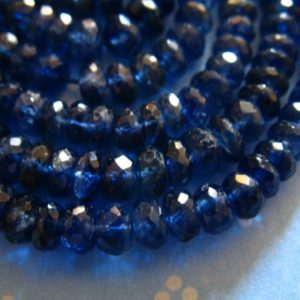Shop Kyanite Faceted Beads! 5-25 pcs,  KYANITE Rondelles Beads, Luxe AA/AAA, 3-4 mm, Kashmir Sapphire Blue, faceted, bridal brides september  tr 34 | Natural genuine faceted Kyanite beads for beading and jewelry making.  #jewelry #beads #beadedjewelry #diyjewelry #jewelrymaking #beadstore #beading #affiliate #ad