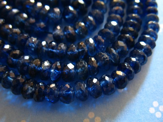 5-25 Pcs,  Kyanite Rondelles Beads, Luxe Aa/aaa, 3-4 Mm, Kashmir Sapphire Blue, Faceted, Bridal Brides September  Tr 34
