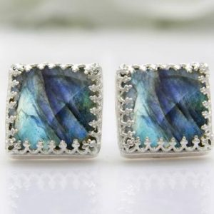 Labradorite earrings,silver earrings,gemstone earrings,bridal earrings,post earrings,square earrings | Natural genuine Gemstone earrings. Buy handcrafted artisan wedding jewelry.  Unique handmade bridal jewelry gift ideas. #jewelry #beadedearrings #gift #crystaljewelry #shopping #handmadejewelry #wedding #bridal #earrings #affiliate #ad