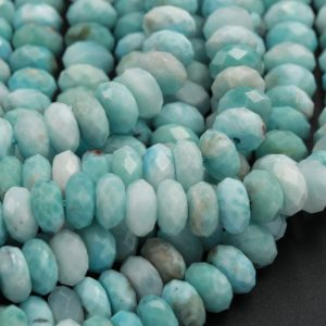 "Shop Larimar Faceted Beads! AAA Natural Blue Larimar 9mm Faceted Rondelle Beads Micro Faceted Real Genuine Larimar Blue Gemstone High Quality Best Larimar 15.5"" Strand 
