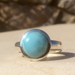 Shop Larimar Rings! Round Stone Silver Ring, Larimar Ring, Blue Gemstone Ring, Larimar Silver Ring, Mens' Pinky Ring | Natural genuine Larimar mens fashion rings, simple unique handcrafted gemstone men's rings, gifts for men. Anillos hombre. #rings #jewelry #crystaljewelry #gemstonejewelry #handmadejewelry #affiliate #ad