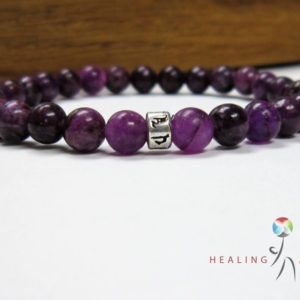 Shop Lepidolite Bracelets! Lepidolite Om Mani Padme Mantra Mala Bracelet | Natural genuine Lepidolite bracelets. Buy crystal jewelry, handmade handcrafted artisan jewelry for women.  Unique handmade gift ideas. #jewelry #beadedbracelets #beadedjewelry #gift #shopping #handmadejewelry #fashion #style #product #bracelets #affiliate #ad