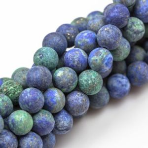 Shop Azurite Round Beads! Matte Malachite Azurite Beads Grade AAA 4mm, 6mm, 8mm, 10mm, 12mm, 14mm- Full 15.5 Inch Strand AAA Quality | Natural genuine round Azurite beads for beading and jewelry making.  #jewelry #beads #beadedjewelry #diyjewelry #jewelrymaking #beadstore #beading #affiliate #ad