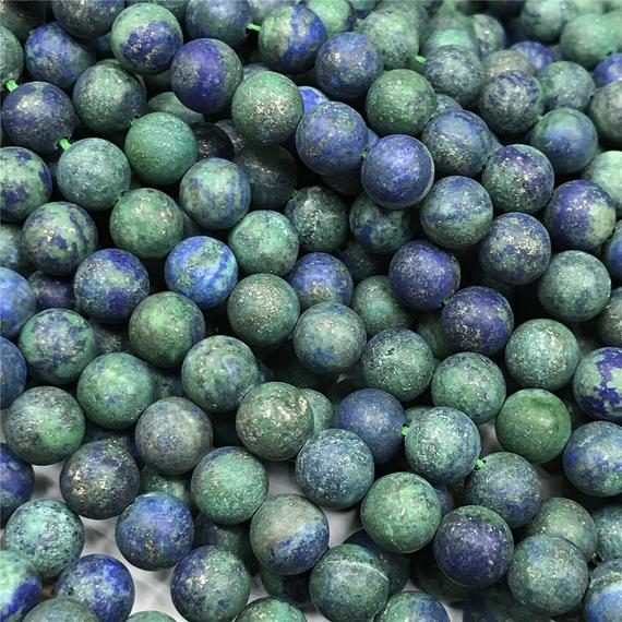 Matte Azurite Round Beads,4mm 6mm 8mm 10mm 12mm Gemstone Beads ,approx 15.5 Inch Strand