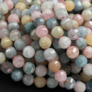 "Geometric Lantern Faceted Natural Beryl Multicolor Green Blue Yellow Aquamarine Pink Morganite 10mm Round Bead Sparkling Gemstone 16"" Strand 