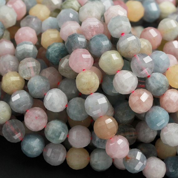 "Geometric Lantern Faceted Natural Beryl Multicolor Green Blue Yellow Aquamarine Pink Morganite 10mm Round Bead Sparkling Gemstone 16"" Strand"