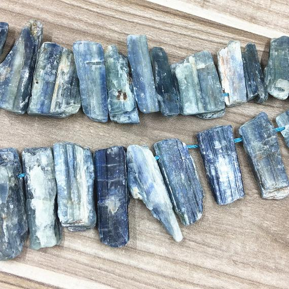 Natural Blue Kyanite Crystal Quartz Points, Blue Kyanite Slice Crystal Raw Rough Crystal Quartz Short Point Nugget Charm Beads 17mm -58mm