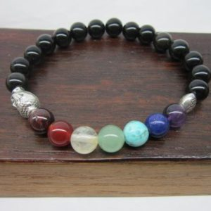 Black Obsidian Chakra Bracelet Black Obsidian Chakra Gemstone Bracelet Yoga Chakra Bracelet Black Obsidian Meditation Bracelet Mala Obsidian | Natural genuine Gemstone bracelets. Buy crystal jewelry, handmade handcrafted artisan jewelry for women.  Unique handmade gift ideas. #jewelry #beadedbracelets #beadedjewelry #gift #shopping #handmadejewelry #fashion #style #product #bracelets #affiliate #ad
