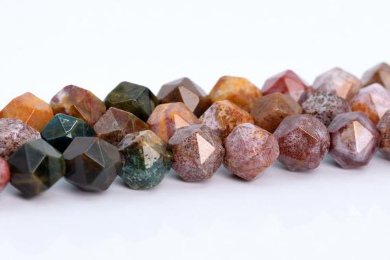 Ocean Jasper Beads Star Cut Faceted Grade Aaa Genuine Natural Gemstone Loose Beads 5-6mm 7-8mm 9-10mm Bulk Lot Options