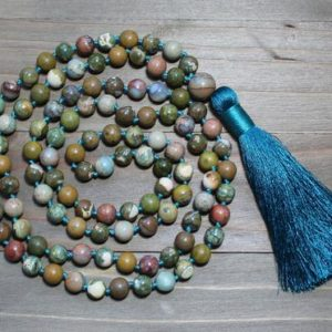 Shop Ocean Jasper Necklaces! Stone Mala, Mala Beads, Long Stone Necklace, Natural Stone Bead Necklace, Mala Beads 108, Boho Tassel Necklace, Ocean Jasper, Yoga Jewelry | Natural genuine Ocean Jasper necklaces. Buy crystal jewelry, handmade handcrafted artisan jewelry for women.  Unique handmade gift ideas. #jewelry #beadednecklaces #beadedjewelry #gift #shopping #handmadejewelry #fashion #style #product #necklaces #affiliate #ad