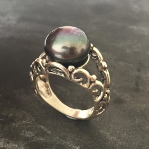 Shop Pearl Rings! Black Pearl Ring, Natural Pearl Ring, June Birthstone, Vintage Pearl Ring, Vintage Style Ring, June Ring, Black Pearl, Solid Silver Ring | Natural genuine Pearl rings, simple unique handcrafted gemstone rings. #rings #jewelry #shopping #gift #handmade #fashion #style #affiliate #ad