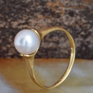 Shop Pearl Rings! Gold Pearl Ring-Pearl ring-Yellow gold ring-Wedding -Art nouveau ring-Anniversary present-For her birthday-White Pearl Statement Ring | Natural genuine Pearl rings, simple unique alternative gemstone engagement rings. #rings #jewelry #bridal #wedding #jewelryaccessories #engagementrings #weddingideas #affiliate #ad