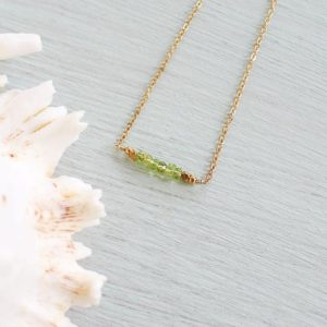 Shop Peridot Necklaces! Peridot Gemstone Necklace – Faceted Rondelle Green Peridot Bead Bar Necklace – Peridot Beaded Bar Necklace – August Birthstone Necklace | Natural genuine Peridot necklaces. Buy crystal jewelry, handmade handcrafted artisan jewelry for women.  Unique handmade gift ideas. #jewelry #beadednecklaces #beadedjewelry #gift #shopping #handmadejewelry #fashion #style #product #necklaces #affiliate #ad