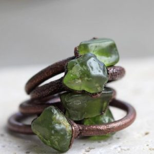 Peridot Ring – Electroformed Copper Ring – Leo Jewelry – Copper Ring – August Birthstone | Natural genuine Peridot rings, simple unique handcrafted gemstone rings. #rings #jewelry #shopping #gift #handmade #fashion #style #affiliate #ad