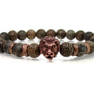 Shop Petrified Wood Bracelets! Petrified Wood Mens Bracelet with Lion Head,Mens Bracelet,Lions Head Mens Bracelet,Gift for Men,Mens Gemstone Bracelet,Mens Beaded Bracelet | Natural genuine Petrified Wood bracelets. Buy handcrafted artisan men's jewelry, gifts for men.  Unique handmade mens fashion accessories. #jewelry #beadedbracelets #beadedjewelry #shopping #gift #handmadejewelry #bracelets #affiliate #ad