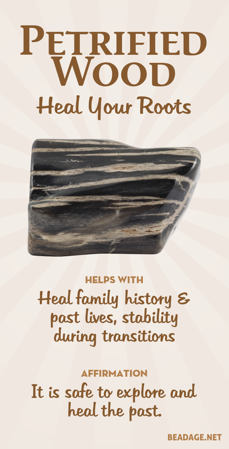 Petrified wood is an ancient fossil of a tree. It is calming, soothing, and nurturing and can help heal problems arising from family history or past lives. Learn more about Petrified Wood meaning + healing properties, benefits & more. Visit to find gemstone meanings & info about crystal healing, stone powers, and chakra stones. Get some positive energy & vibes! #gemstones #crystals #crystalhealing #beadage