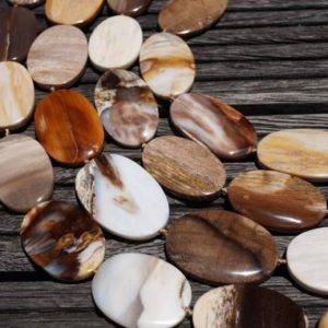 Shop Petrified Wood Beads! Petrified Wood 23-30mm Oval Flat Beads (etb00532) | Natural genuine other-shape Petrified Wood beads for beading and jewelry making.  #jewelry #beads #beadedjewelry #diyjewelry #jewelrymaking #beadstore #beading #affiliate #ad
