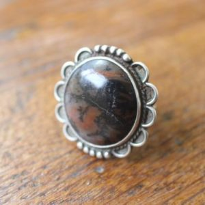 Petrified Wood RING / 1930's to 1940's Southwest Jewelry / Vintage Sterling Silver Size 6 1/4 Ring | Natural genuine Petrified Wood jewelry. Buy crystal jewelry, handmade handcrafted artisan jewelry for women.  Unique handmade gift ideas. #jewelry #beadedjewelry #beadedjewelry #gift #shopping #handmadejewelry #fashion #style #product #jewelry #affiliate #ad