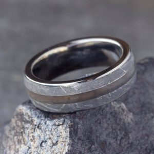 Petrified Wood Ring With Gibeon Meteorite, Titanium Wedding Band | Natural genuine Petrified Wood jewelry. Buy handcrafted artisan wedding jewelry.  Unique handmade bridal jewelry gift ideas. #jewelry #beadedjewelry #gift #crystaljewelry #shopping #handmadejewelry #wedding #bridal #jewelry #affiliate #ad