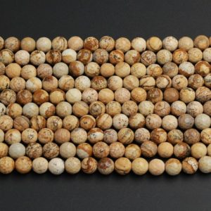 "Shop Picture Jasper Faceted Beads! Natural Picture Jasper Faceted 4mm 6mm 8mm 10mm 12mm Round Beads Desert Jasper Earthy Yellow Brown Jasper 16"" Strand 