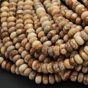 "Shop Picture Jasper Faceted Beads! Natural Picture Jasper Faceted 6mm 8mm Rondelle Beads Natural Desert Jasper Rondelle Earthy Yellow Brown Tan Jasper 16"" Strand 