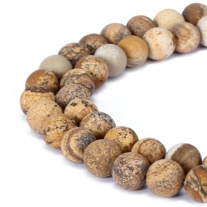 "Shop Picture Jasper Beads! Picture Jasper Matte Round Beads 4mm 6mm 8mm 10mm 12mm 15.5"" Strand 