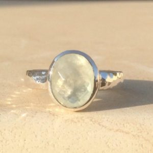 Shop Prehnite Rings! Oval Faceted Gemstone Silver Ring, Prehnite Hammered Silver Ring, Womens' Silver Ring with Stone, Gift for Her | Natural genuine Prehnite rings, simple unique handcrafted gemstone rings. #rings #jewelry #shopping #gift #handmade #fashion #style #affiliate #ad